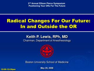 Radical Changes For Our Future:  In and Outside the OR