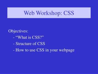 Web Workshop: CSS