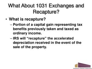 What About 1031 Exchanges and Recapture?