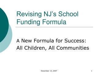 Revising NJ�s School Funding Formula