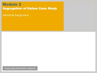 Module 2 Segregation of Duties Case Study Individual Assignment