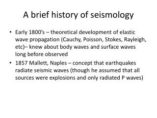 A brief history of seismology
