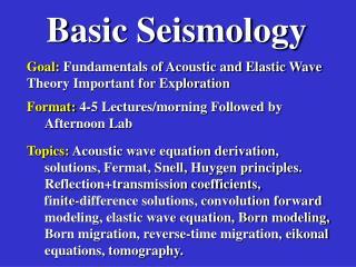Basic Seismology