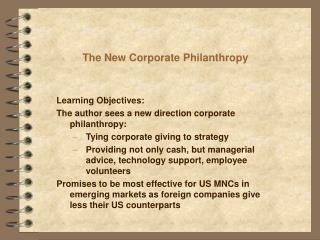 The New Corporate Philanthropy