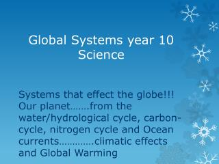 Global Systems year 10 Science