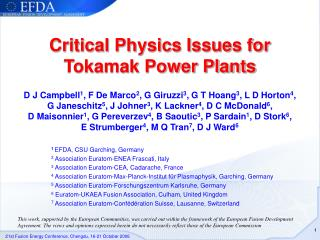 Critical Physics Issues for Tokamak Power Plants