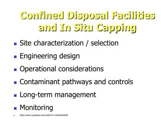 Confined Disposal Facilities and In Situ Capping