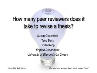 How many peer reviewers does it take to revise a thesis?