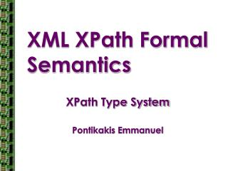 XML XPath Formal Semantics