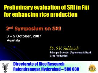 2 nd  Symposium on SRI