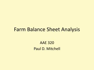 Farm Balance Sheet Analysis