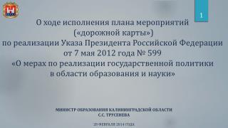 МИНИСТР ОБРАЗОВАНИЯ  КАЛИНИНГРАДСКОЙ ОБЛАСТИ С.С.  ТРУСЕНЕВА 28  ФЕВРАЛЯ 2014 ГОДА