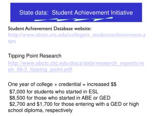 State data:  Student Achievement Initiative