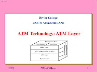 Rivier College CS575: Advanced LANs ATM Technology: ATM Layer