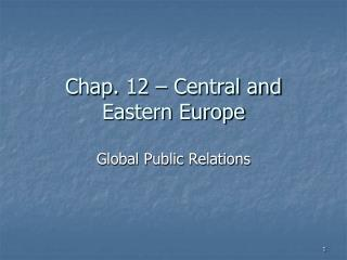 Chap.  12  –  Central and Eastern Europe