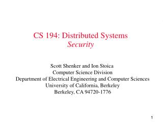 CS 194: Distributed Systems Security