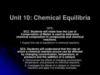 Unit 10: Chemical Equilibria