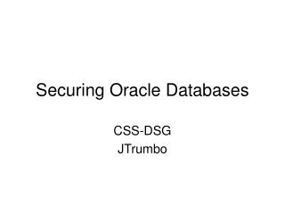 Securing Oracle Databases