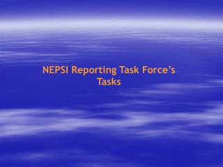 NEPSI Reporting Task Force's Tasks