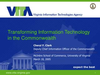 Cheryl F. Clark Deputy Chief Information Officer of the Commonwealth
