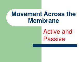 Movement Across the Membrane