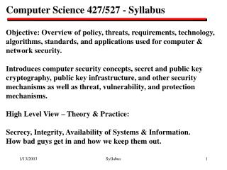 Computer Science 427/527 - Syllabus