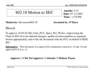 802.18 Motion to SEC