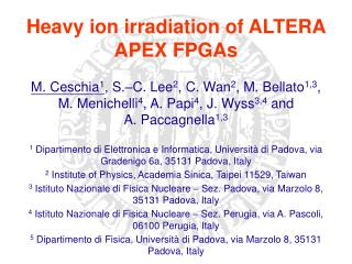 Heavy ion irradiation of ALTERA APEX FPGAs
