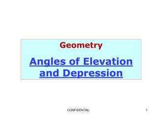 Geometry Angles of Elevation and Depression