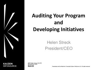 Auditing Your  Program and Developing  Initiatives