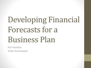 Developing Financial Forecasts for a Business Plan