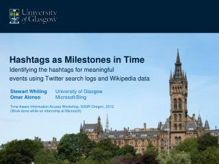 Hashtags  as Milestones in Time