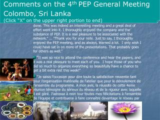 Comments on the 4 th  PEP General Meeting