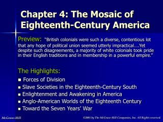 Chapter 4: The Mosaic of Eighteenth-Century America