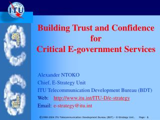 Building Trust and Confidence  for  Critical E-government Services