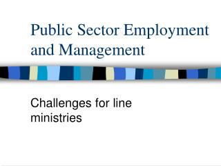 Public Sector Employment and Management