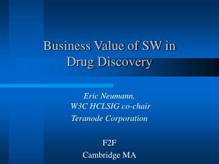 Business Value of SW in  Drug Discovery