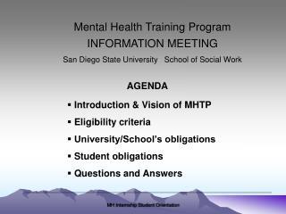 Mental Health Training Program INFORMATION MEETING