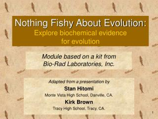 Nothing Fishy About Evolution: Explore biochemical evidence  for evolution