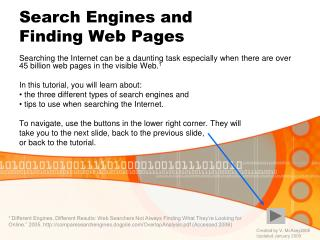 Search Engines and  Finding Web Pages