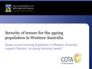 Security of tenure for the ageing population in Western Australia