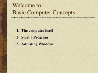 Welcome to Basic Computer Concepts