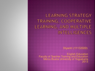 Multiple Intelligence Theory  And  Effective Curriculum Planning
