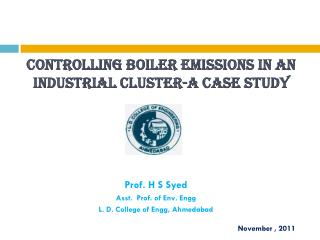 Controlling boiler emissions in an industrial cluster-A case study