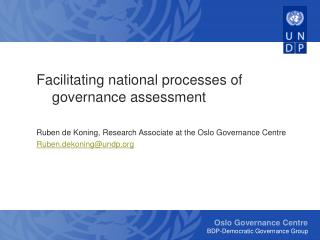 Facilitating national processes of governance assessment
