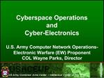 U.S. Army Computer Network Operations-Electronic Warfare EW Proponent  COL Wayne Parks, Director