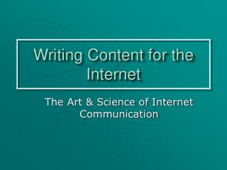 Writing Content for the Internet