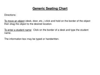 Generic  Seating Chart  Directions: