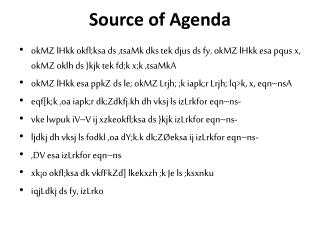 Source of Agenda