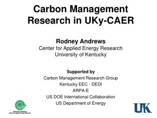 Carbon Management Research in  UKy -CAER